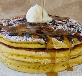 Cornmeal Pancakes with Blueberries